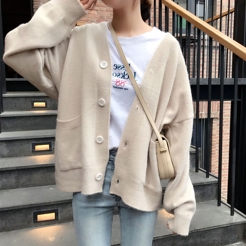 Knitted Sweater Cardigan Casual Sweater Women Solid Elegant Winter Jumper Korean Oversized Cardigans Harajuku Cashmere Coat V550