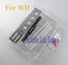 Siyah beyaz şeffaf renk tam set konut Case kapak değiştirme Wii aksesuarları için oyun konsolu perakende paketi ile