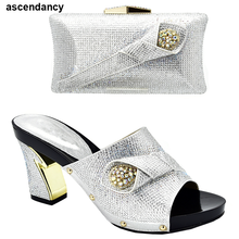 New Arrival African Woman Shoes and Bag Women Shoes and Bags To Match Set Italy Women Shoes and Bag Slip on Women Party Pumps cheap ascendancy Slingbacks Square heel Super High (8cm-up) Fits true to size take your normal size ELEGANT CRYSTAL Summer Round Toe