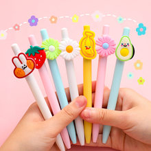 12PCS/LOT Cute Fruit And Flower Plastic Ball Pen Gift 1 Piece 0.5mm Black Free Shipping(China)