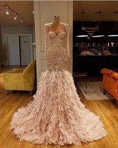 Image 3 - Glitter Gold Pailletten Meerjungfrau Feder Afrikanische Prom Kleider Langarm Eine Schulter Abendkleid Plus Größe Graduation Formal Kleid