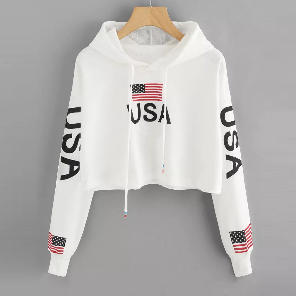 Women Crop Top Hoodie Korean Kawaii Drop Shoulder American Flag Print Hooded Sweatshirt Top Black Pink Hoodie Sudadera Mujer #38