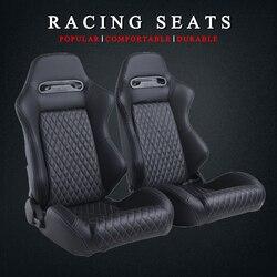 R-EP قابل للتعديل سباق مقعد السيارة العالمي للرياضة جهاز محاكي للسيارة دلو مقاعد الأسود بولي كلوريد الفينيل والجلود 1 زوج XH-1035-BK