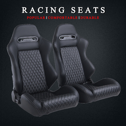 R-EP Adjustable Balap Kursi Mobil Universal untuk Mobil Sport Simulator Sadel Black PVC Leather 1 Pasang XH-1035-BK