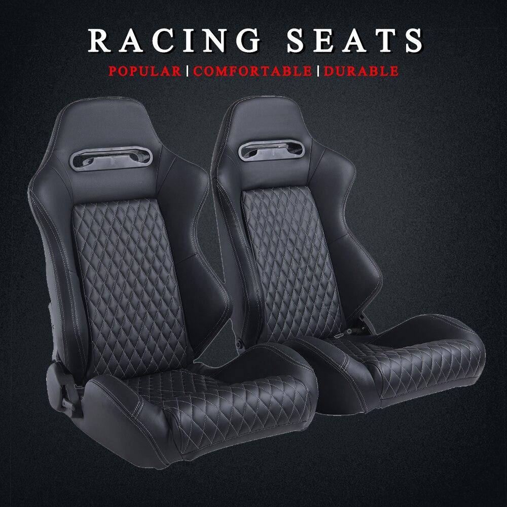 R-EP Adjustable Racing Car Seat Universal For Sport Car Simulator Bucket Seats Black PVC Leather 1 Pair XH-1035-BK