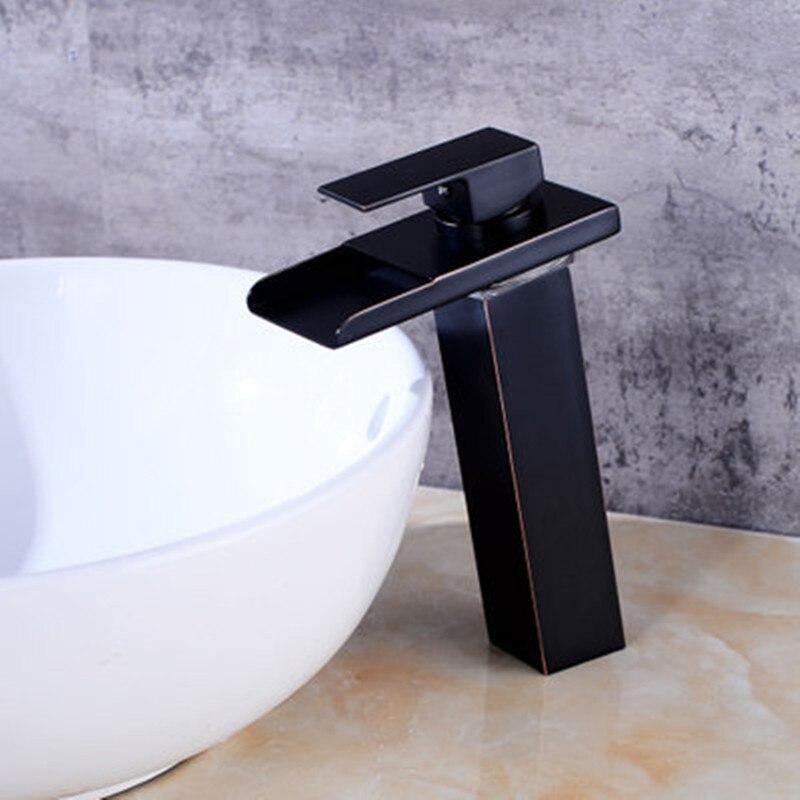 Robinet de lavabo en laiton avec cascade en verre doré robinet à LED. Mitigeur de salle de bain mitigeur lavabo monté sur le pont - 3
