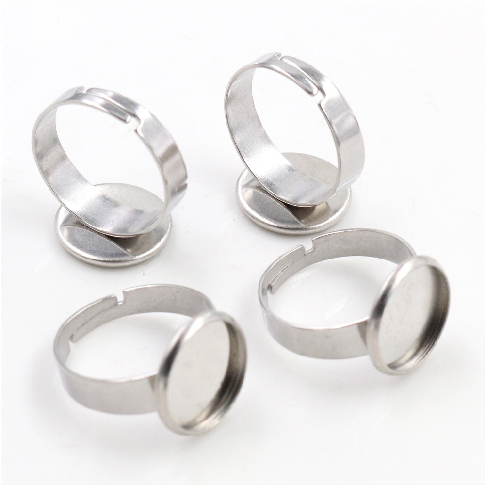 12mm 10pcs/Lot No Fade Stainless Steel Adjustable Ring Settings Blank/Base,Fit 12mm Glass Cabochons,Buttons;Ring Bezels-T1-24
