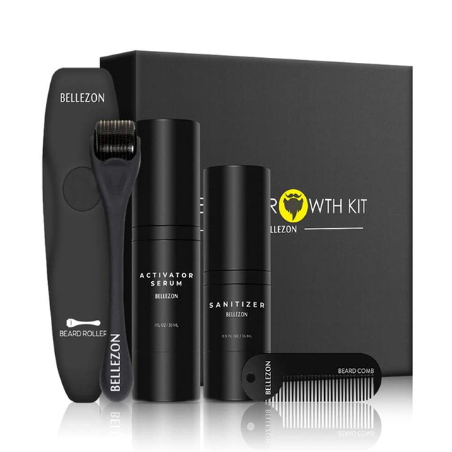 Bellezon 4Pcs/set Beard Growth Kit Hair Growth Enhancer Thicker Oil Nourishing Essence Leave-in Conditioner Beard Care with Comb 1