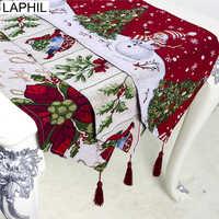 LAPHIL Navidad flor muñeco de nieve camino de mesa Navidad Fiesta cena mantel cubierta Feliz Navidad decoraciones para el hogar Navidad