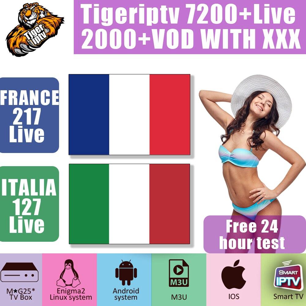 France World IPTV Subscription 7200+ Tv Program 2000+ VOD Adult IPTV ITALIA Tv Box M3U Android Smart IPTV BOX Support 1 Devices