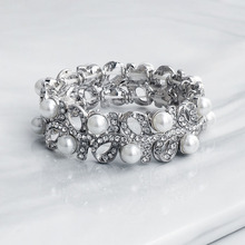 Floralbride Trendy Charm Stretch Crystal Rhinestones Pearls Fashion Women Bracelet Girls Bridal Wedding Bangle