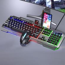 Teclado de jogo e mouse usb com fio teclado mecânico backlight pc gamer claver jogo de rato de teclado silencioso para computador portátil