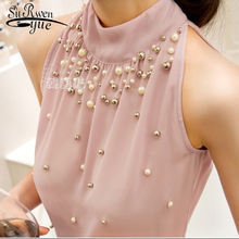 2019 New Women Beading Chiffon Blouse Korean Fashion Sleeveless Women Turtleneck