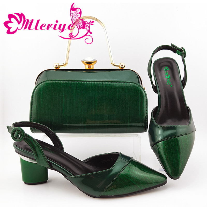 2020 Party New Design Green Color Italian Women Shoes and Bag to Match Nigerian Mature Style Matching Shoes and Bag Set