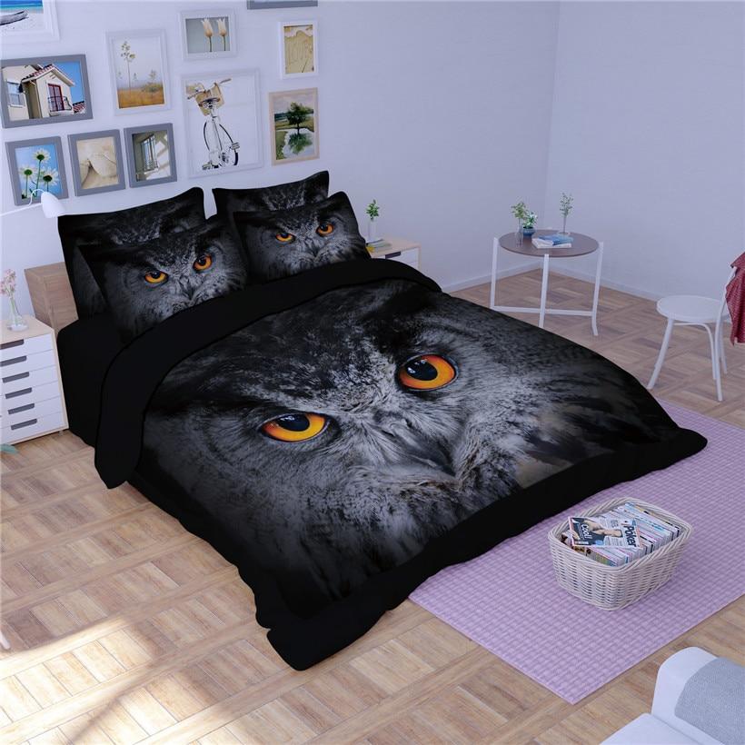 Tiere Eule gedruckt Bettbezug set mit Spiel Kissen shams Twin Voll Königin König größe Ultra Weiche Bettwäsche sets für kinder Jungen - 2