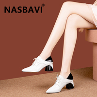 NASBAVI 2020 new arrival women pumps genuine leather single shoes unique vintage pointed toe square heel fashion women shoes