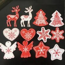 10pcs Angel Elk Snowflake Wooden Christmas Pendants Decorations DIY Wood Crafts XMAS Tree Ornaments Party
