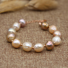Bracelet Woman Natural Color Freshwater Pearl Baroque Style Lrregular Bangle Party Fine Jewelry
