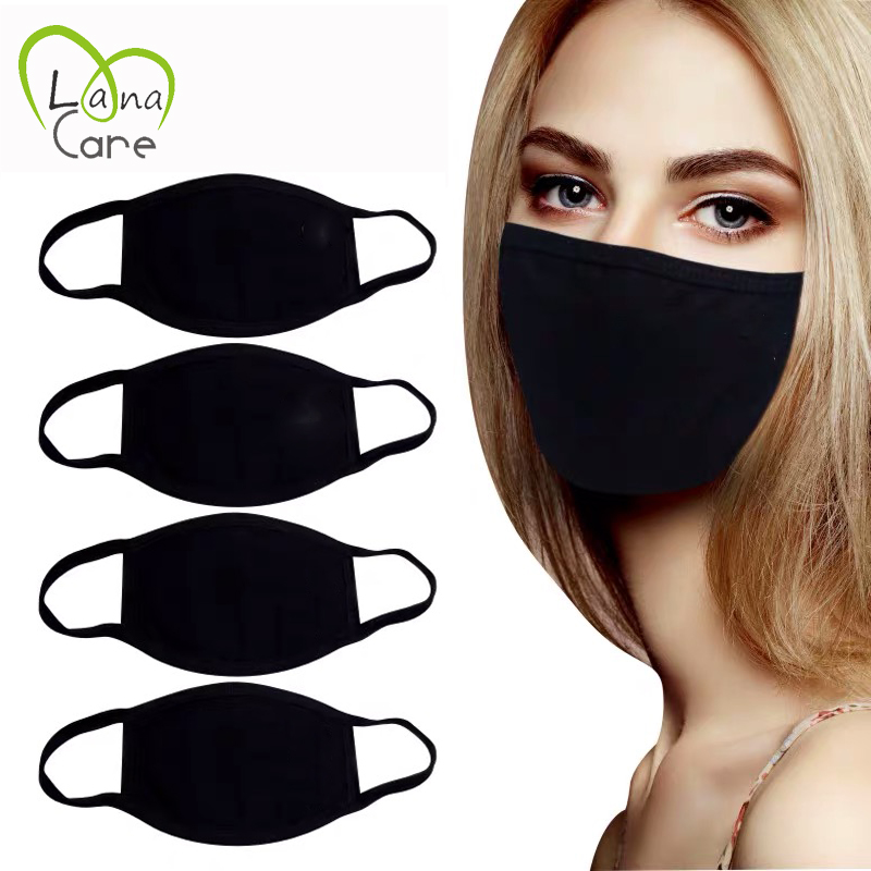 5PCS Black Cotton Masks Unisex Simple Masque Cycling Breathable Earloop Mouth Face Mask Warm Masks Daily