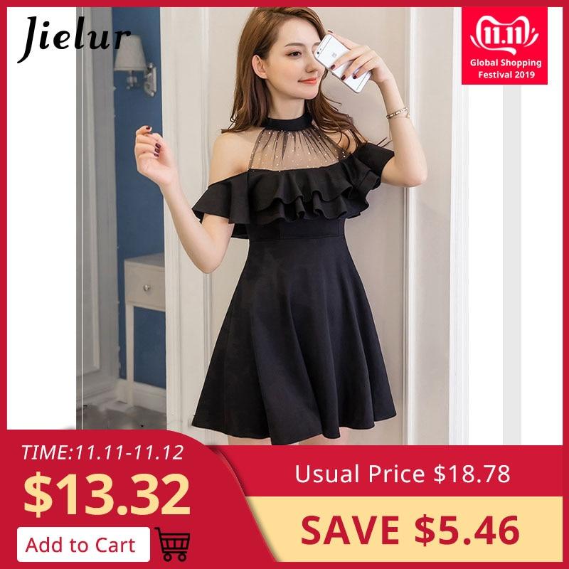 Jielur Elegant Off Shoulder Dress Summer S-XXL Korean Hipster Black White Vestido Mujer Sexy Slim Ruffles A Line Dropship