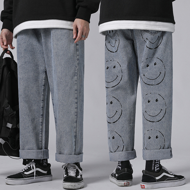 Fashion Mens Vintage Washed Jeans Hip Hop Smile Face Printed Loose Fit Denim Pants Harajuku Urban Style Dad Jean Trousers  Male