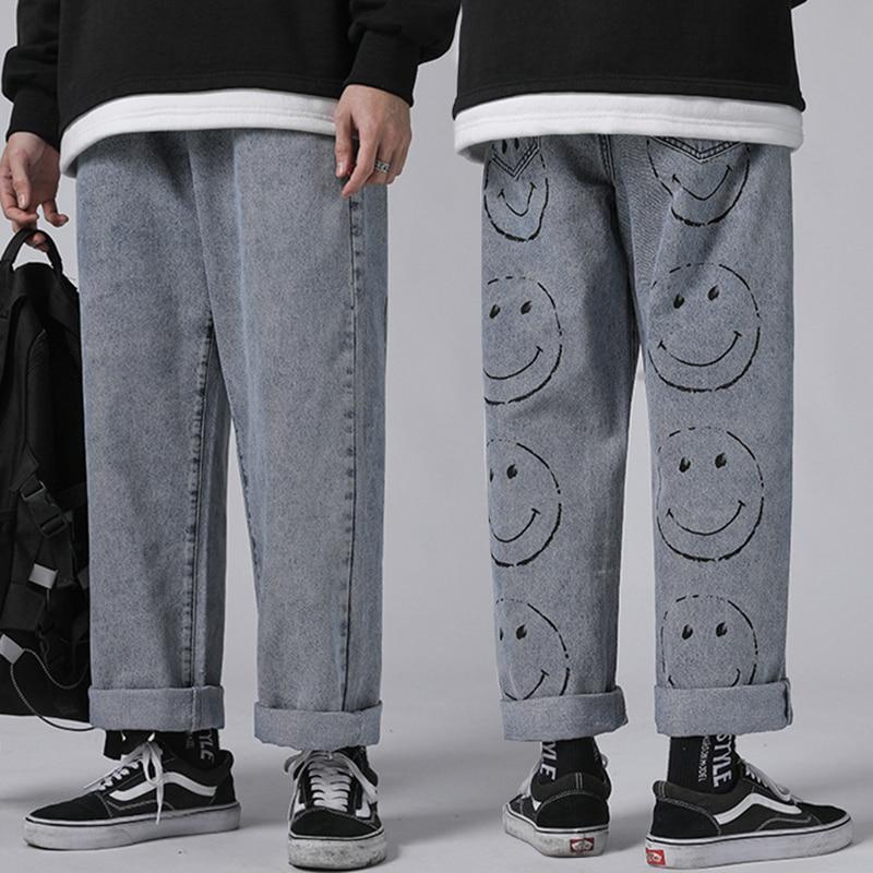 Art und weise Mens Vintage Gewaschen Jeans Hip Hop Lächeln Gesicht Gedruckt Lose Fit Denim Hosen Harajuku Städtischen Stil Dad Jean Hosen männlichen