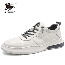 Genuine Leather White Male Casual Shoes Spring Brand Low