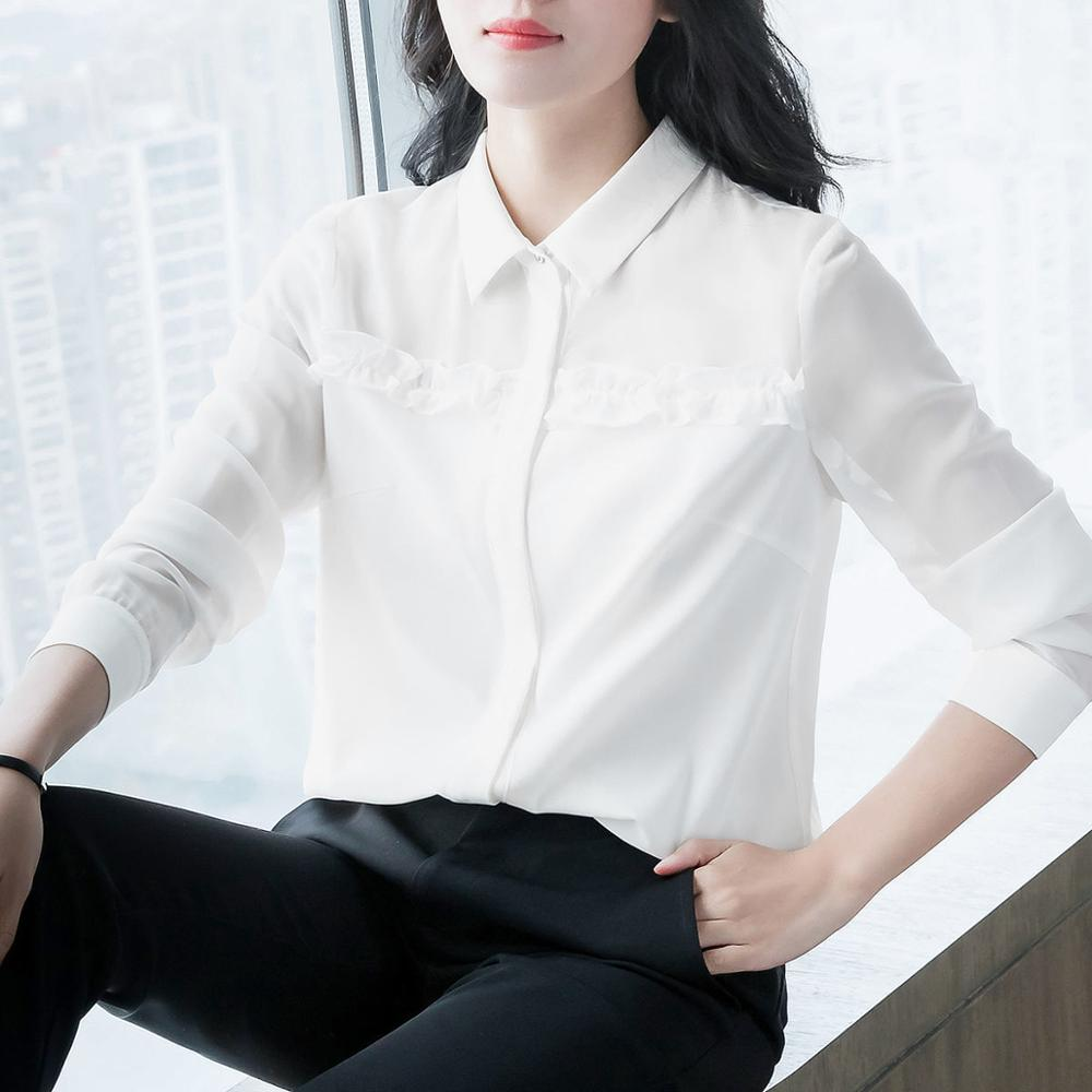 Women's Spring Autumn Style Blouse Shirt Women's Button Turn-Down Collar Solid Color Long Sleeve Korean Elegant Tops SP1099 8
