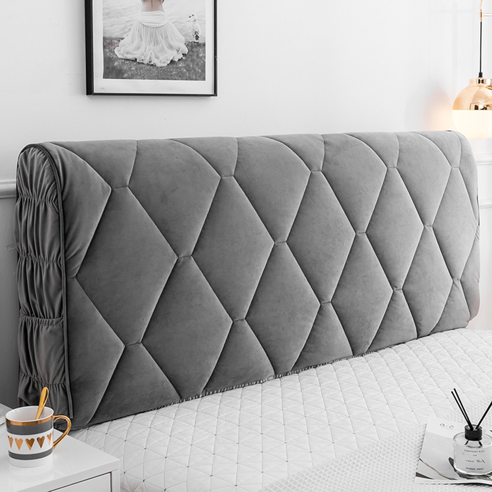 Velvet Bed Head Cover Bed Headboard Dustproof Cover Solid Color Bed Headboard Slipcover Full Enclosed Elastic Protective Cover For Twin Full Queen King Bed Head Covers,Black-AA:120cm