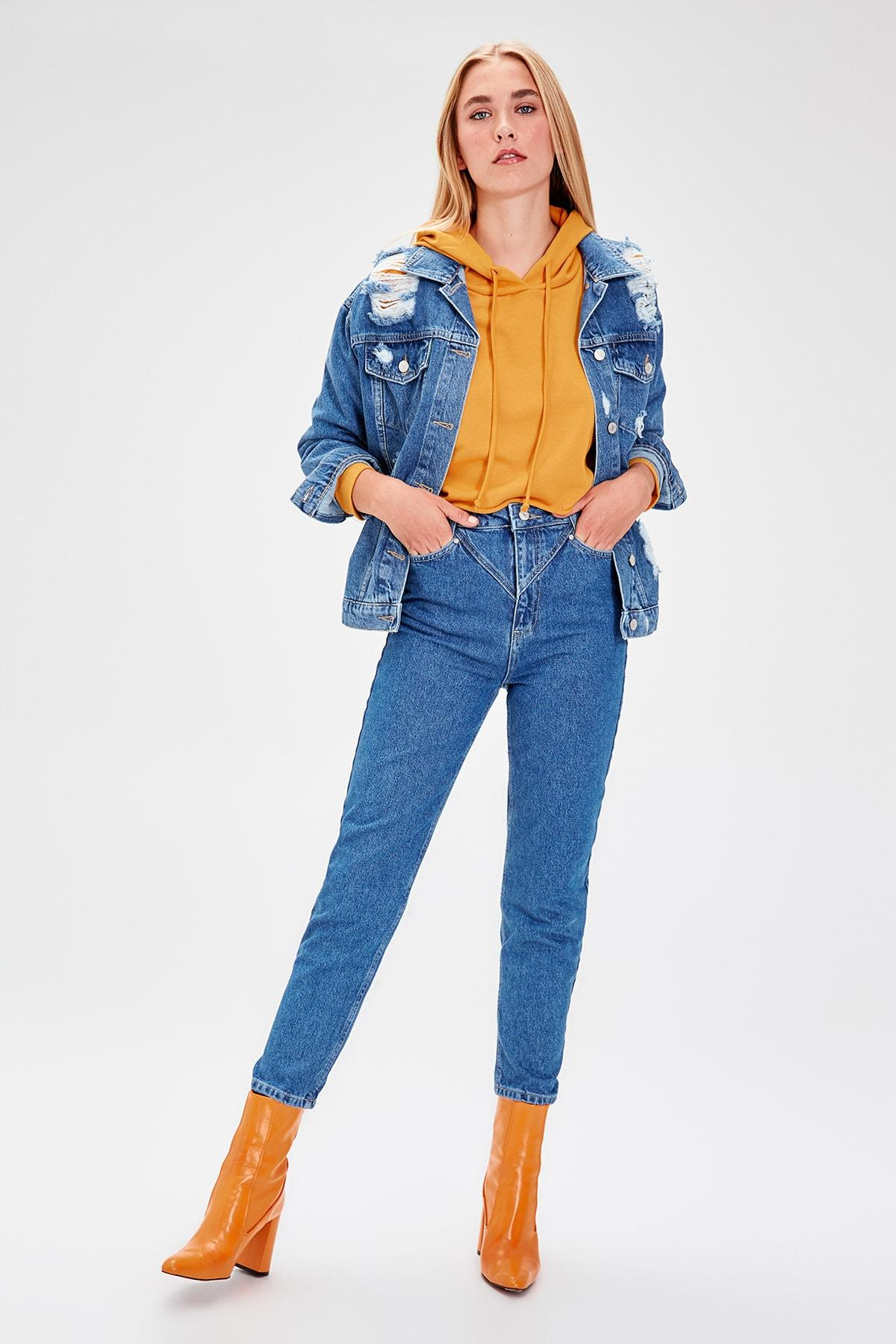Trendyol Mavi Stitch Detail High Bel Mom Jeans TWOAW20JE0041