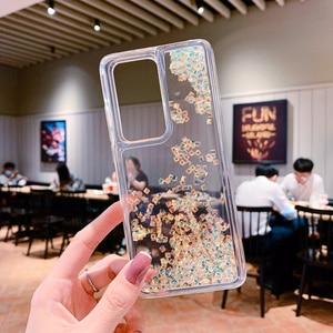 Image 5 - Glitter Diamond Liquid Transparent Silicone Phone Case For Huawei P40 P30 Pro Nova 7 8 Mate 30 40 Pro Quicksand Soft TPU Cover