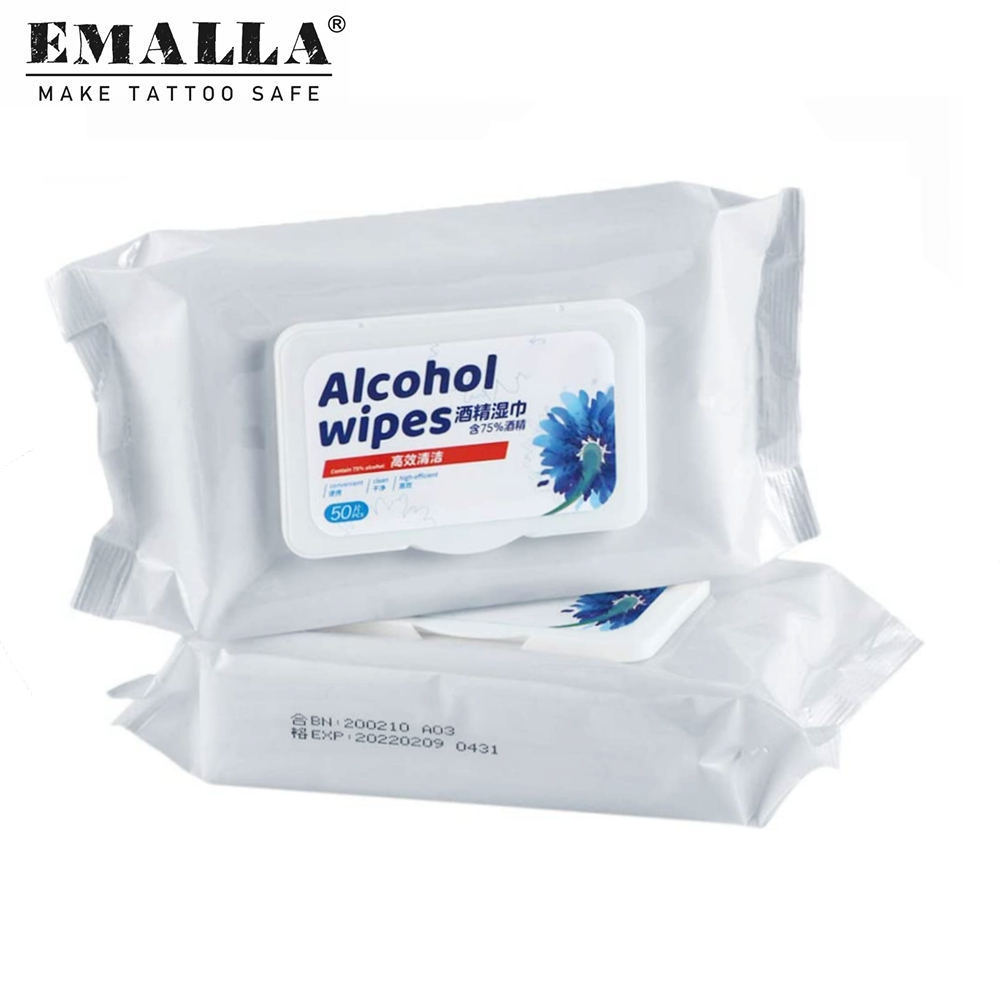 50PCS Alcohol Wipes Skin Cleaning Portable Hand Towel Swabs Pads Wipes Cleaning Disinfection Wipe Tattoo Supplies Free Shipping