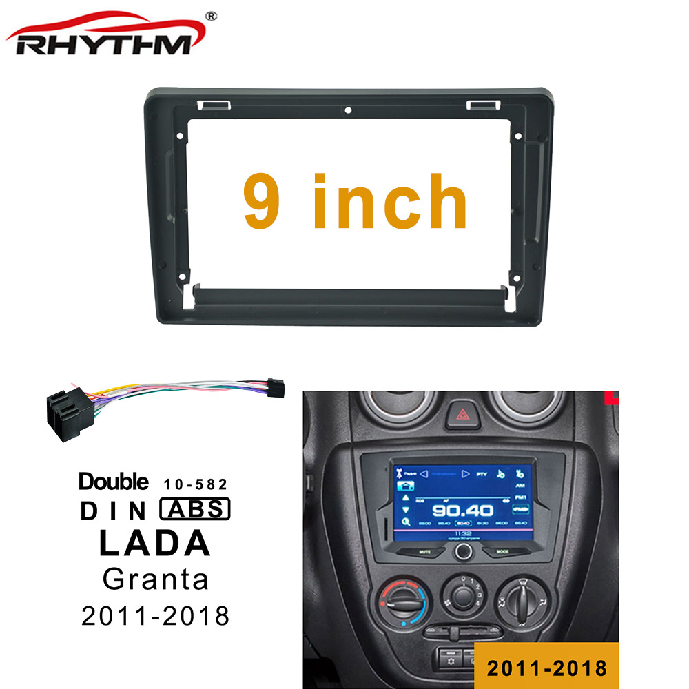 9 Inch Car Fascias For LADA GRANTA 2011-2018 One/ Double Din Car Dvd Frame Adaptor Install Panel Dash Mount Installation image