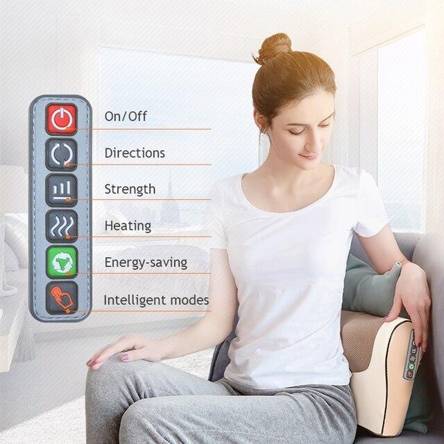 Infrared Heating Neck Shoulder Back Body Electric Massage Pillow Shiatsu Massager Device Cervical Healthy Massageador Relaxation 2