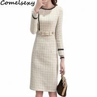 Comelsexy 2019 New Tweed Dress Women Spring Vintage Wool Plaid Dresses Female Elegant Woolen Dress Ladies Office Vestidos