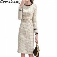 Comelsexy 2019 New Tweed Dress Women Spring Vintage Wool Plaid Dresses Female Elegant Woolen Dress Ladies Office Vestidos