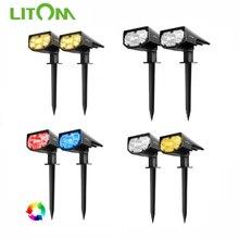LITOM 12 LED Outdoor Garden Lawn Light IP67 Waterproof LITOM CD190 Solar Lights with Adjustable Light Modes 2020 Solar Spotlight