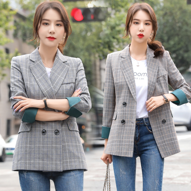 High quality women's jacket slim fit office suit 2020 Autumn and winter women's plaid long-sleeved ladies blazer Fashion jacket