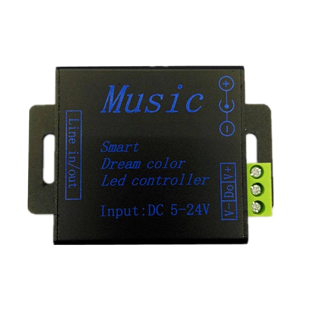LED მუსიკალური კონტროლერი DC5V-24V SPI RGB Smart ოცნების ფერი 5050 ws2811 ws2812b LED ზოლების მოდულებით