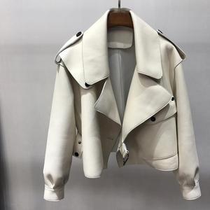 Image 5 - Vestes à manches longues en cuir véritable femme, pardessus court en cuir de mouton naturel, à la mode, offre spéciale