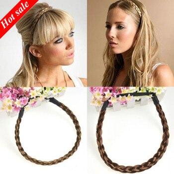 Модные аксессуары для волос, имитация синтетических волос, плетеная повязка на голову, эластичная лента для волос, плетеная повязка на голову
