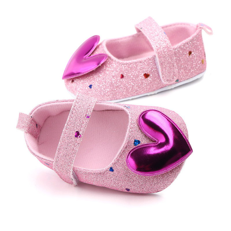 Heart Sequin Baby Shoes Soft Sole Newborn Girl Shoes First Walkers Non-Slip Infant Toddler Shoes Schoenen Meisje
