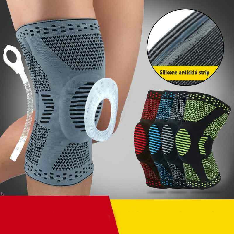 Newest 2pcs Colorful Silicone Spring Knee Brace Sport Support Strong Meniscus Protection Compression Sport Knee Protect Sleeve