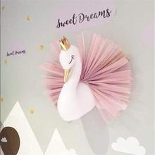 Милая Золотая Корона лебедь украшение на стену девочка кукла Лебедь мягкие игрушки животные голова Декор стены украшение для детской комнаты