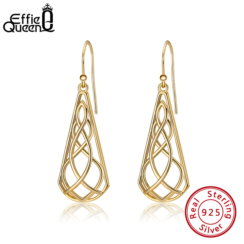 Effie Queen Trendy Exquisite Gold Color Real 925 Silver Women Earrings Water Drop Shape Solid Hollow Earring Jewelry Gift EQE03