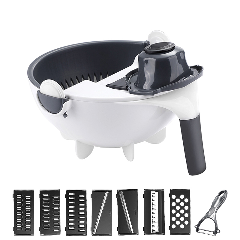 Rotate Vegetable Cutter With Drain Basket <font><b>Multifunctional</b></font> <font><b>Kitchen</b></font> Veggie Fruit Slicer <font><b>Food</b></font> <font><b>Chopper</b></font> Peeler Grater For Cabbage image