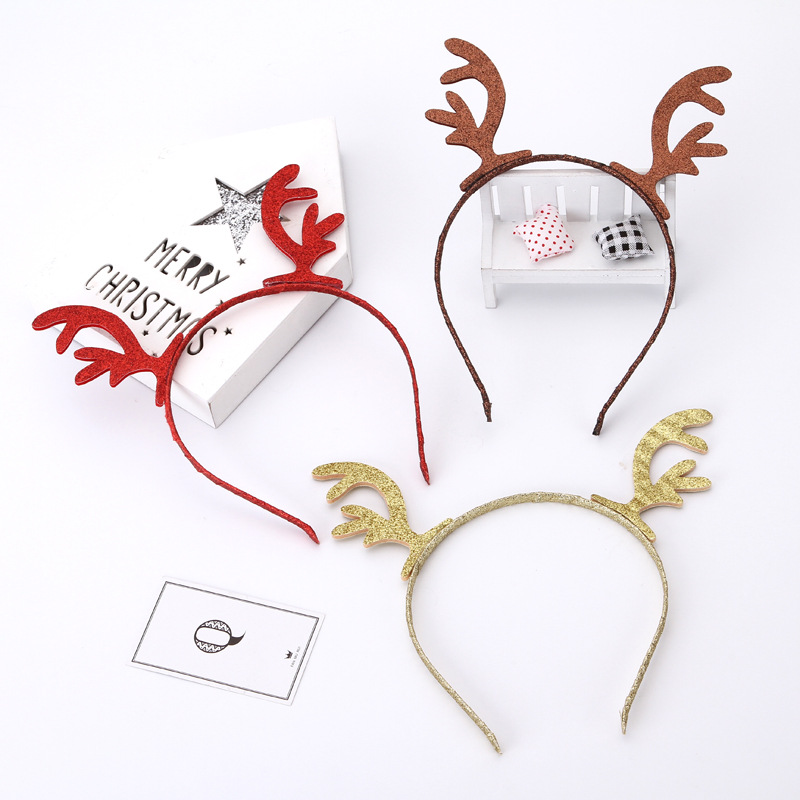 New Fashion Cute Antlers Hair Accessories Christmas Headband Diy Adult Child Hairpin Side Clip Card Christmas Headbands Aliexpress