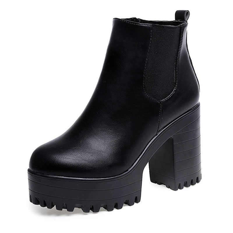 Vrouwen Enkellaarsjes PU Leer Sexy Hoge Hakken Herfst Winter Schoenen Vrouw Platform Korte Boot Terug Zip Dikke Hakken Vrouwelijke botas