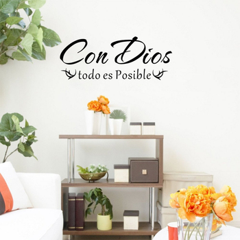 WJWY Con Dios Todo Es Posible Spanish Christian Quote Wall Art Sticker Mural Home Decor Living Room Bedroom Decoration Wallpaper image