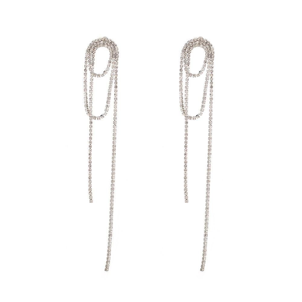 Za nouveau Style exagération créative longue chaîne strass gland boucle d'oreille immortelle élégante diamant ensemble oreille goujon femmes Bord croisé
